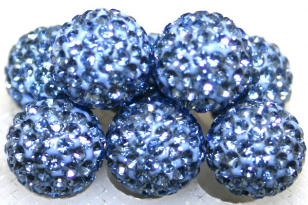 12mm Powder Blue 130 Stone  Pave Crystal Beads- 2 Hole PCB12-130-021